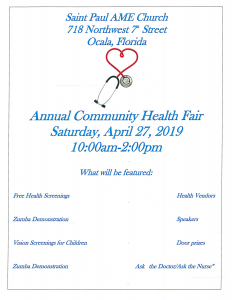 Annual Community Health Fair @ Saint Paul AME Church